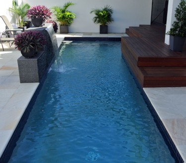 Geometric concrete pool water feature